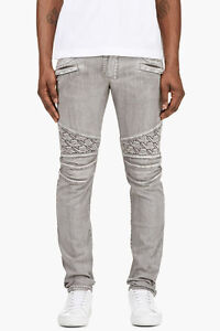 Authentic Balmain Grey Washed Biker Jeans