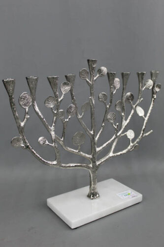 Michael Aram Botanical Leaf Tree of Life MENORAH Silver