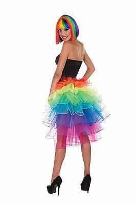 Rainbow Colored Halloween Costumes (RAINBOW BUSTLE SKIRT FANCY DRESS COSTUME ACCESSORIE ADULT MULTI)