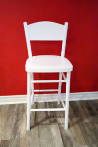 White Wood Bar or Kitchen Stool