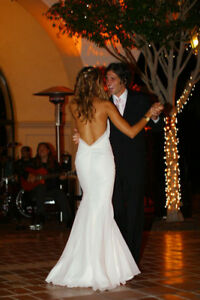 Beautiful, modern, custom-made, mermaid-shaped wedding gown!