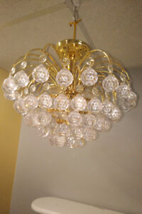 Light Fixture Set of 3 - Indoor, Pendant Crystal Balls, 2 Sizes