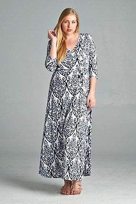 BNWT Lotus Flower Tribal Navy White Stretch Maxi Dress Size 14 CURVED BY NATURE Lotus Flower Dress