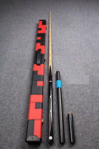 3/4 handmade ash snooker cue w/ case + extensions