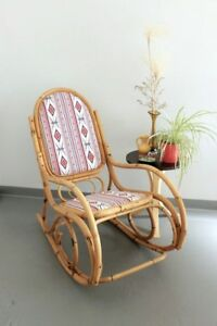 Vintage Bamboo Cane Rocking Chair