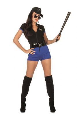Polizist Kostüme Damen (Polizist Sexy Polizistin Polizei Catsuit Kostüm Kleid Uniform Damen FBI SWAT Hut)