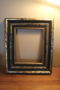 Old Wooden Picture Frame - Gold Marbled Design - Green Accents