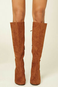Faux Suede Knee High Boots - Tan - Sz5-1/2