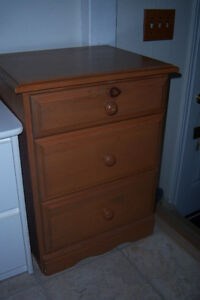 Maple Night Stand w/ 3 Drawers