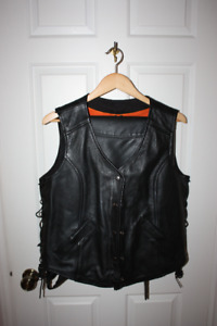 Women's black leather motorcycle vest