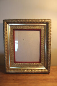 Old Wooden Basket Weave Picture Frame