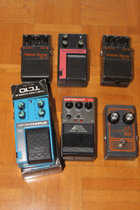 Lot 6 pedales guitare vintage Metal-Distortion-Chorus-Compressor