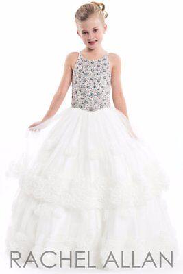 Rachel Allan Perfect Angels 1669 Winning White Girls Pageant Gown Dress Sz 10