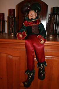 "Vintage porcelain beanbag clown/ jester doll.(33"" inches tall)."