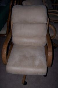 2 Large Oak and Suade Swivel Reclining Chairs on Casters
