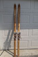 Antique 1930s Peterborough Canoe Co. Down Hill wooden skis
