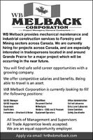 WB Melback Corporation - Staff and Tradespersons Wanted