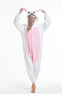 Women Men Unisex Adult Onesie0 Animal Bunny Rabbit Pajamas Cosplay Costume