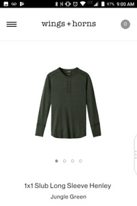 Wings and Horns _ Long sleeve Henleys Size M and L NEW