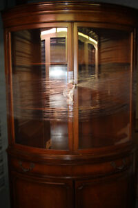 1940s Curved Glass Demilune China Cabinet