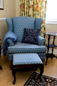 Two Woodframe Wingback Chairs with footstool