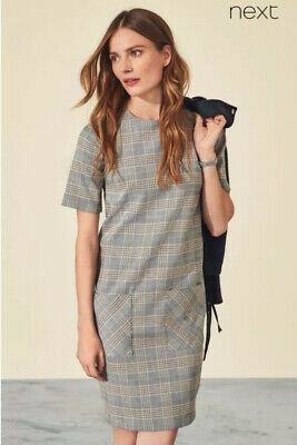 New Next Size 10 Grey Orange Tailoring Check Shift Pocket Dress Office