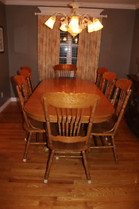 Solid Wood 8 chair dining room table