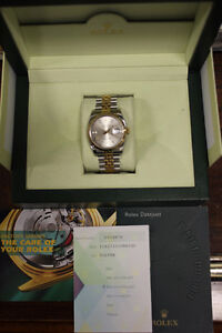 Rolex Datejust 18k Gold & Stainless Steel 36mm Box & Papers
