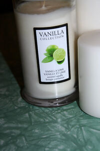 NEW Two white pillar Candles PLUS one glass jar scented candle Kitchener / Waterloo Kitchener Area image 2