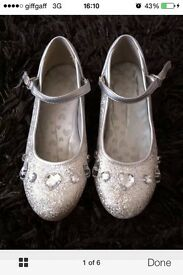 Stunning silver glittery 1 inch heeled princess shoes size 12 (small fit)