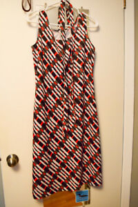 Dress - Red, Black, White, approx size 10-12 - label gone,