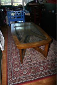 Glass top Coffee Table. Long and heavy and in great condition.