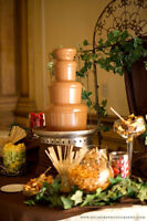 Chocolate fountain, crepes, Belgian waffles, fruit display/table