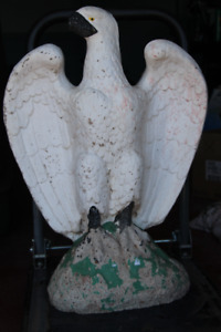 LARGE 2 (PAIR) CONCRETE EAGLE STATUES OVER 2 FEET TALL