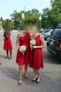short red tulle bridesmaid dresses