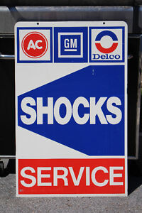 NOS AC DELCO GM SCHOCKS SERVICE METAL DOUBLE SIDED SIGN