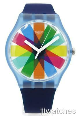 New Swiss Swatch Originals GRAFTIC Navy Blue Silicone Watch 41mm SUON133 $75