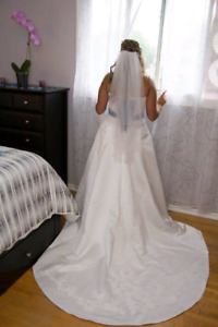 Alfred Angelo wedding dress, tiara, new garder and white shoes