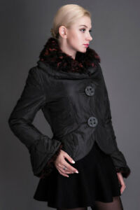 Brand new coat with natural fur collar, size S