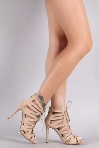 Creme Caged Lace Up Heels (Size 5 And 8)