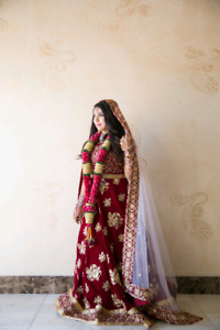 Red indian bridal lengha