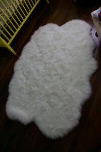 White faux fur rug- brand new