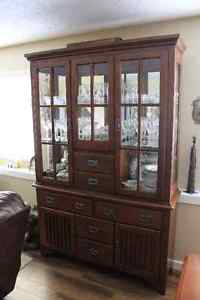 Solid Dining Room Table and Hutch