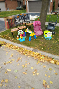 free stuff, various (chairs, high chair, toys, booster seat