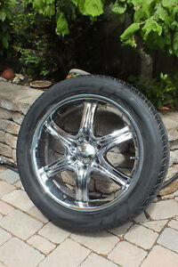 """Set of 4 20"""" Chrome rims with all-season / off-road sports tires"""