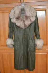 Olive Green Full Length Leather Coat with Fur. Small/Medium size