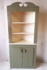 398: Very Early Antique Green Corner Cabinet