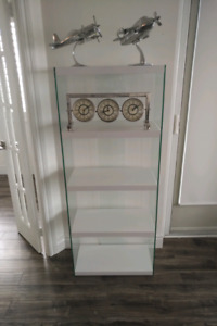 White Bookcase with Tempered Glass
