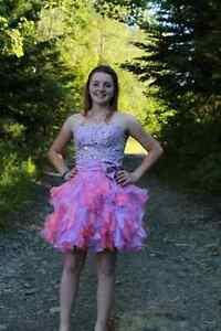 Pretty pink & purple short prom dress