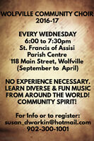 Register now and join the Wolfville Community Choir